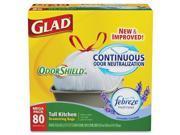 Glad OdorShield Tall Kitchen Drawstring Bag - 13 gal - Plastic - 80/Box - White Type: Bags
