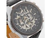 Winner Men Automatic Mechanical Wrist Watch Wristwatch Black Dial Leather Band