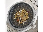 Winner Silver Stainless Steel Skeleton Automatic Mechanical Wrist Watch Mens