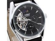 Mens Automatic Mechanical Skeleton Wrist Watch PU Leather Band Round Dial Analog 9SIA3M12310316