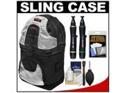 Precision Design PD-BP2 Deluxe Sling Digital SLR Camera Backpack Case (Black/Silver) with Lenspens + Screen Protectors + Cleaning Kit
