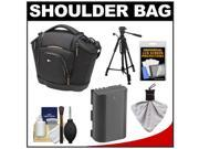 Case Logic Digital SLR Medium Shoulder Bag/Case (Black) (SLRC-202) with LP-E6 Battery + Tripod + Accessory Kit