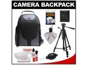 Bower SCB1350 Photo Pack Backpack Case (Black) with Deluxe Photo/Video Tripod + Canon Cleaning Kit