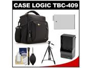 Case Logic TBC-409 Digital SLR Camera Shoulder Case (Black) with LP-E8 Battery & Charger + Tripod + Kit for Rebel T3i, T4i, T5i