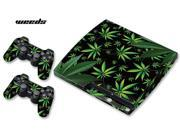 Sony PS3 PlayStation 3 Slim Console Skin plus 2 Controller Skins Weeds Black