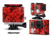 GoPro Hero 3+ Camera & Case Vinyl Skin Decal - Digicamo Red