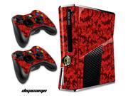 Microsoft Xbox 360 Slim Console Skin plus 2 Controller Skins -Digi Camo Red