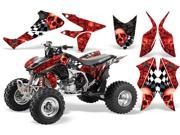 2004 2014 Honda TRX 450R AMRRACING ATV Graphics Decal Kit Checkerd Skull Two Tone Black Red