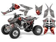 2004 2014 Honda TRX 450R AMRRACING ATV Graphics Decal Kit Checkerd Skull Red Silver