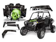2011 2013 Polaris RZR XP 900 AMRRACING SXS Graphics Decal Kit Checkered Skull Green Black