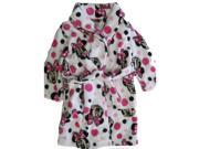 Disney Little Girls Pink White Minnie Mouse Polka Dotted Plush Bath Robe 6