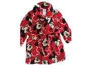 Disney Little Boys Red Mickey Mouse Character Allover Print Bath Robe 4T