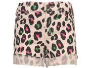 Ko Ko Ailis Little Girls Black Green Cheetah Print Frayed Cuff Shorts 5