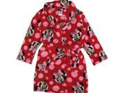 Disney Little Girls Red Black Minnie Allover Print Belted Bath Robe 6