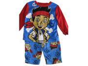 Jake the Pirate Baby Boys Red Sky Blue Cartoon Themed 2 Pc Pajama Set 24M