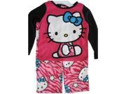 Hello Kitty Little Girls Fuchsia Black Kitty Spotted Print 2 Pc Pajama Set 6