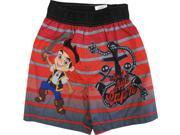 Disney Little Boys Red Grey Jake The Pirate UPF 50 Swimwear Shorts 3T
