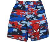 Marvel Little Boys Blue Red Spiderman Camo Print UPF 50+ Swim Shorts 4T 9SIA4365BY3550