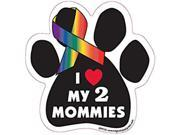 I Heart My 2 Mommies Paw Shaped Support Ribbon Car Truck & Mailbox Magnet