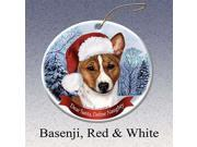 Holiday Pet Gifts Basenji (Red & White) Santa Hat Dog Porcelain Christmas Tree Ornament