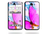 Mightyskins Protective Skin Decal Cover for HTC One X+ Plus Cell Phone AT&T wrap sticker skins Pink Butterfly