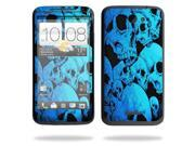 Mightyskins Protective Skin Decal Cover for HTC One X+ Plus Cell Phone AT&T wrap sticker skins Blue Skulls