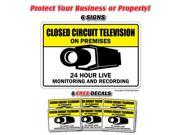 VIDEO SURVEILLANCE CCTV 6 Signs & 6 Free Decals closed circuit tv camera