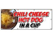 """36""""""""x96"""""""" CHILI CHEESE HOT DOG IN A CUP BANNER SIGN all beef franks snack food"""" 9SIA4433442086"""