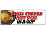 "72"""" CHILI CHEESE HOT DOG IN A CUP BANNER SIGN all beef franks snack food"" 9SIA4433442170"