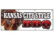 "36""""x96"""" KANSAS CITY STYLE BBQ BANNER SIGN beef brisket ribs pork barbque open"" 9SIA4433442635"