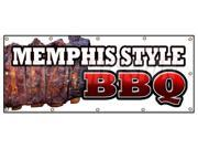 "48""""x120"""" MEMPHIS STYLE BBQ BANNER SIGN beef brisket ribs pork barbque open eat"" 9SIA44334A0039"