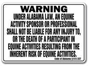 ALABAMA Equine Sign activity liability warning statute horse