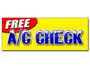 "36"""" FREE A/C CHECK DECAL sticker air conditioning diagnosis repair cold freon ice"" 9SIA4431BZ2683"