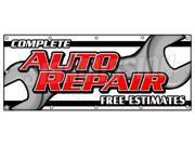 "48""""x120"""" COMPLETE AUTO REPAIR FREE ESTIMATES BANNER SIGN cars a/c brakes muffler"" 9SIA44334A0394"