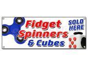 FIDGET SPINNER & CUBE BANNER SIGN tri-spinner edc toy stress reducer adhd fydget