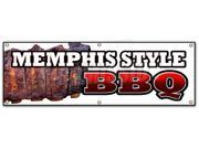 "72"""" MEMPHIS STYLE BBQ BANNER SIGN beef brisket ribs pork barbque open eat"" 9SIA4433440648"