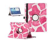 ULAK 360 Rotating Synthetic Leather Smart Case Stand Cover For Samsung Galaxy Tab 3 10.1 inch P5200 With AUTO Sleep/Wake Function - Giraffe Rose Red