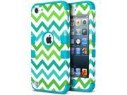 ULAK iPod Touch 5 Case,iPod Touch 6 Case,Hybrid Hard Pattern with Silicon Case Cover for Apple iPod Touch 5th 6th Generation (Green Wave/Blue)