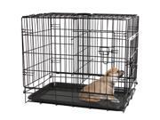 OxGord Double-Door Easy Folding Metal Wire Pet Kennel Crate for Dogs, Cats, Rabbits (Medium)