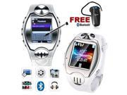 Stylish GSM Wireless Watch Cell Phone w/ Bluetooth Spy Camera MP3 MP4 ~Unlocked! (White) 9SIA45W25Z6008