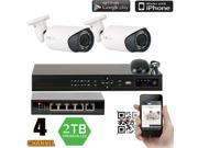 GW 4 Channel NVR Kit Security System with PoE Switch, 2 x PoE Camera System 1080P High Definition Max 5 Megapixel High Definition Weather Proof IP Camera, Motion Detective Smartphone View (2TB HDD)