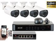 GW 4 Channel 1080P NVR Kit PoE HD IP Security Camera System (4)x 2MP Megapixel 2.8~12mm Varifocal Lens 80 Feet Night Vision Water Proof Motion Detective QR-Code Scan Remote Smartphone View (No HDD)