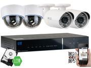 GW 1080P 2.1 Megapixel 4-Channel Plug and Play Complete HD-TVI Security System | (2 Outdoor & 2 Indoor) x 2.1MP HDTVI (True HD 1080P @30fps) Security Cameras, 1TB Pre-Installed Hard Drive