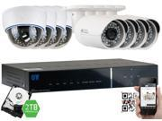 GW 1080P 2.1 Megapixel 8-Channel Plug and Play Complete HD-TVI Security System | (4 Outdoor & 4 Indoor) x 2.1MP HDTVI (True HD 1080P @30fps) Security Cameras, 2TB Pre-Installed Hard Drive