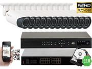 GW 16 Channel 1080P NVR Kit PoE HD IP Security Camera System 12x Max 5 Megapixel 2.8~12mm Varifocal Lens 80 Feet Night Vision Water Proof Motion Detective QR-Code Scan Remote Smartphone View (4TB)