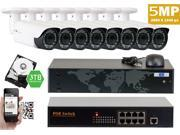 GW Power Over Ethernet IP Camera System HD 1440P 5 MegaPixel Live Stream & Play Back, QR-Code Scan Cellphone Access, Varifocal Lens Weather Proof IP Camera, PoE Switch Hard Drive & Cables All Included
