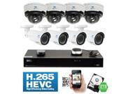 GW 8 Channel H.265 4K NVR 4 Megapixel 1680P Network Video Plug & Play IP Camera Security System - 8 x POE 4MP 1680p Realtime 2.8~12mm Varifocal Zoom Lens Weatherproof Bullet & Dome IP Cameras
