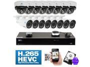 GW 16 Channel H.265 4K NVR 4 Megapixel 1680P Network Video Plug & Play IP Camera Security System - 16 x POE 4MP 1680p Realtime 2.8~12mm Varifocal Zoom Lens Weatherproof Bullet & Dome IP Cameras