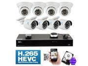 GW 8 Channel H.265 HEVC PoE NVR 3-Megapixel (2048 x 1536) Plug-N-Play Security Camera System - 8x 3MP 1536p @ 30fps Realtime Weatherproof Onvif Bullet & Dome POE IP Cameras, 98 ft Night Vision