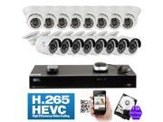 GW 16 Channel H.265 HEVC PoE NVR 3-Megapixel (2048 x 1536) Plug-N-Play Security Camera System - 16x 3MP 1536p @ 30fps Realtime Weatherproof Onvif Bullet & Dome POE IP Cameras, 98 ft Night Vision